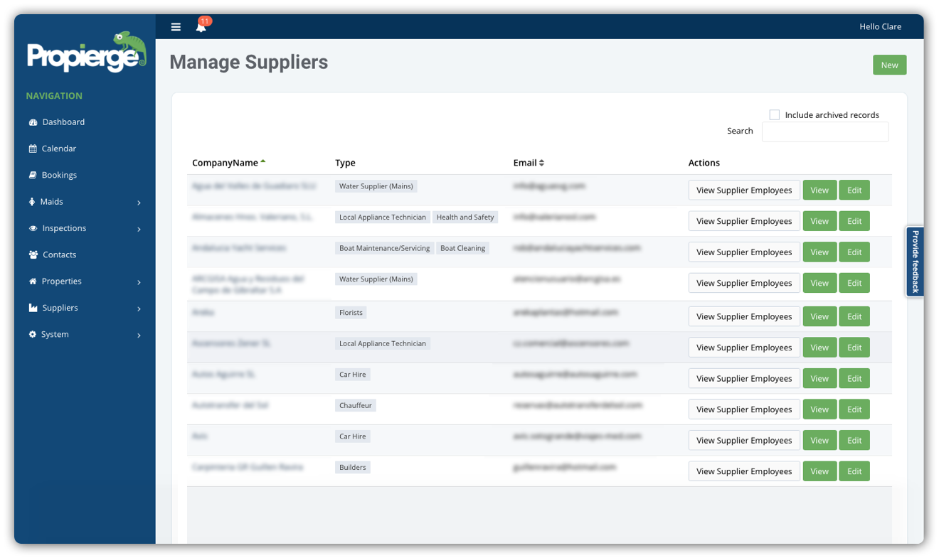 Propierge - Suppliers